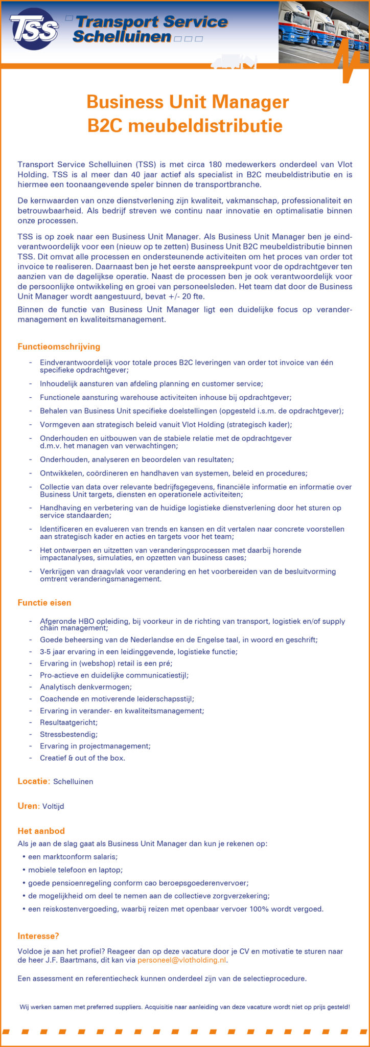business unit manager, advertentie, vlot, tss, mondial movers