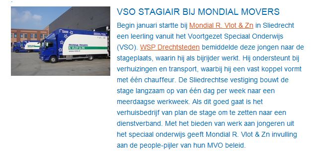 VSO Stagiair verhuizer Mondial Movers