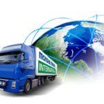 Mondial Movers International Verhuiswagen met wereldbol