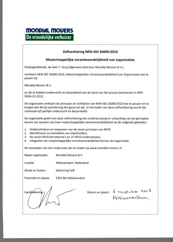Zelfverklaring ISO26000
