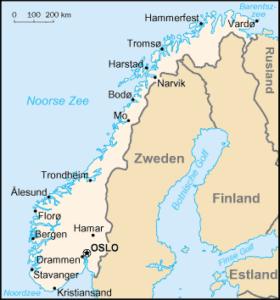 Landkaart Verhuizen naar Noorwegen met Mondial Movers International