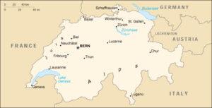 Verhuizen naar Zwitserland landkaart